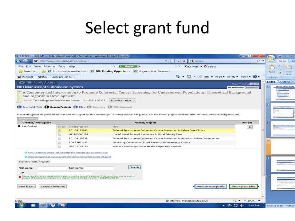 Select grant fund