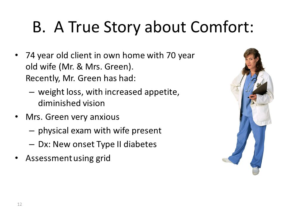 B. A True Story about Comfort: 74 year old client in own home with 70 year old wife (Mr. & Mrs. Green). Recently, Mr. Green has had: – weight loss, wi