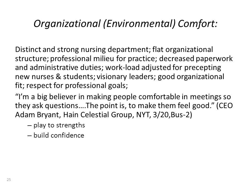 Organizational (Environmental) Comfort: Distinct and strong nursing department; flat organizational structure; professional milieu for practice; decre