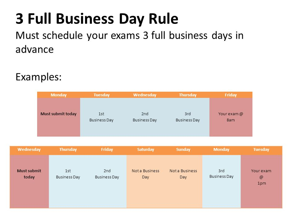 3 Full Business Day Rule Must schedule your exams 3 full business days in advance Examples: MondayTuesdayWednesdayThursdayFriday Must submit today 1st Business Day 2nd Business Day 3rd Business Day Your exam @ 8am WednesdayThursdayFridaySaturdaySundayMondayTuesday Must submit today 1st Business Day 2nd Business Day Not a Business Day Not a Business Day 3rd Business Day Your exam @ 1pm