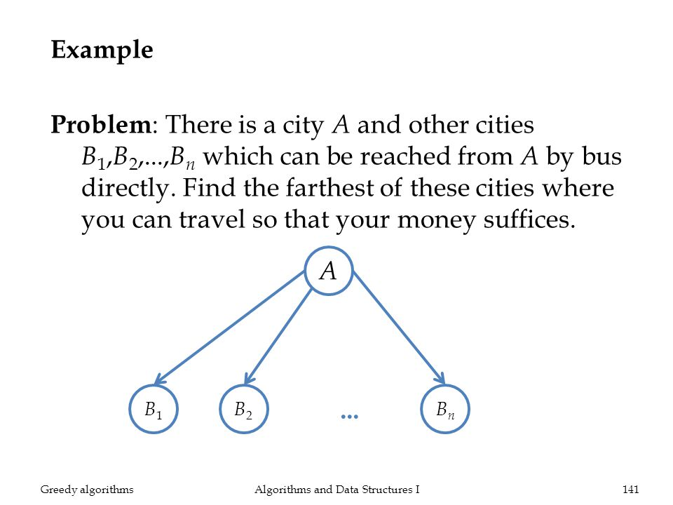 Example Problem : There is a city A and other cities B 1, B 2,..., B n which can be reached from A by bus directly.