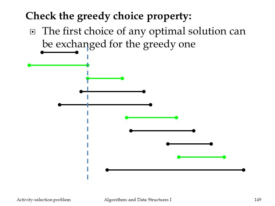 Algorithms and Data Structures I149Activity-selection problem Check the greedy choice property: The first choice of any optimal solution can be exchanged for the greedy one