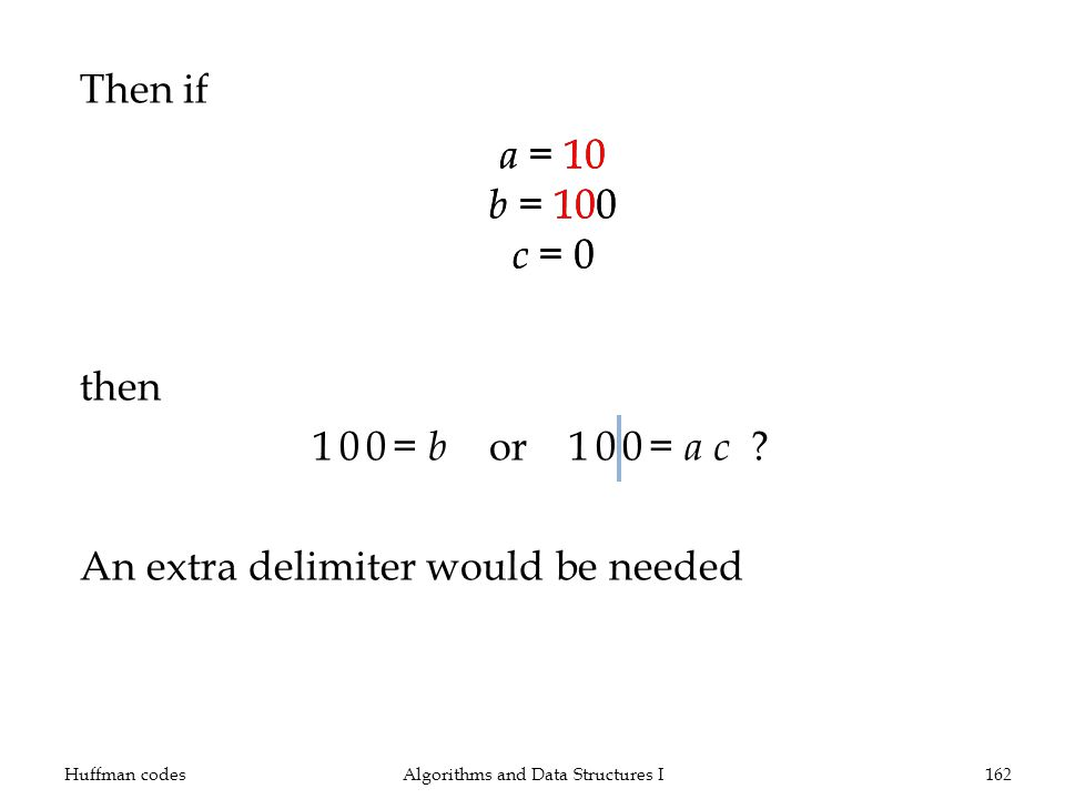 Then if then 100= b or 100= a c ? An extra delimiter would be needed Huffman codesAlgorithms and Data Structures I162 a = 10 b = 100 c = 0 a = 10 b =