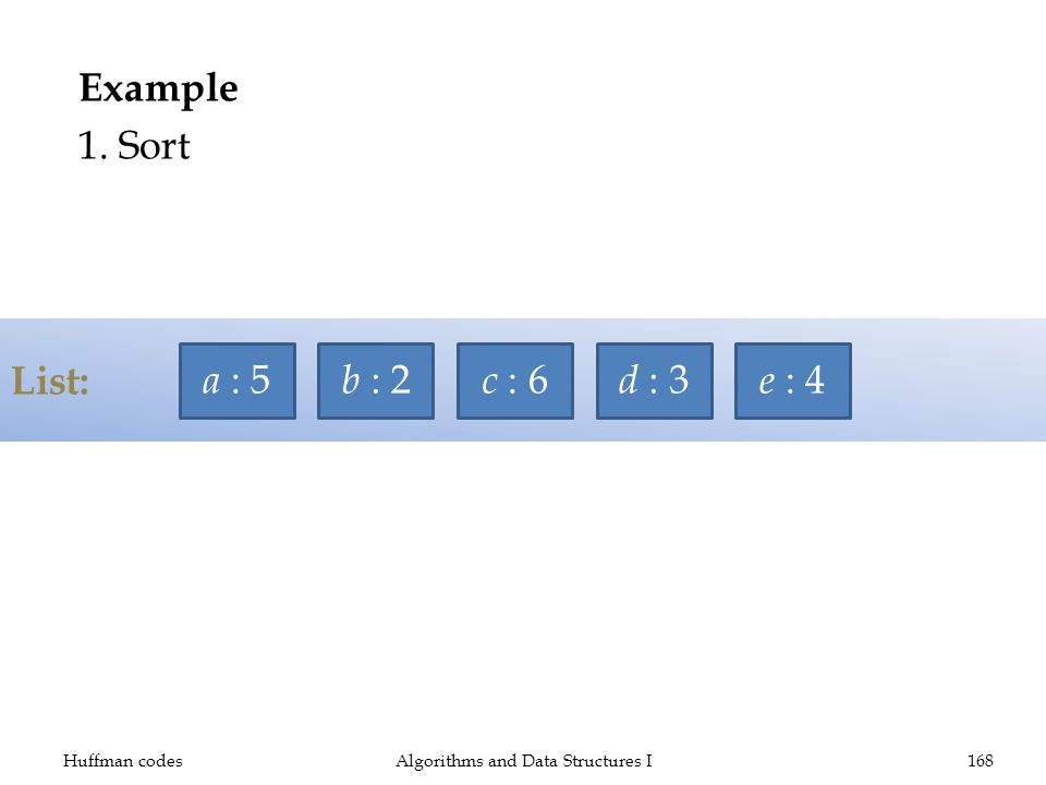 List: Example 1. Sort Huffman codesAlgorithms and Data Structures I168 a : 5 b : 2 c : 6 d : 3 e : 4