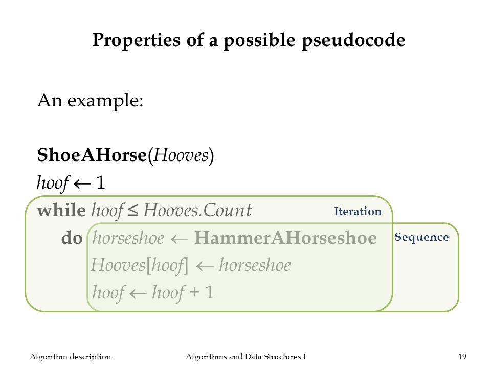 An example: ShoeAHorse ( Hooves ) hoof 1 while hoof Hooves.Count do horseshoe HammerAHorseshoe Hooves [ hoof ] horseshoe hoof hoof + 1 Algorithms and