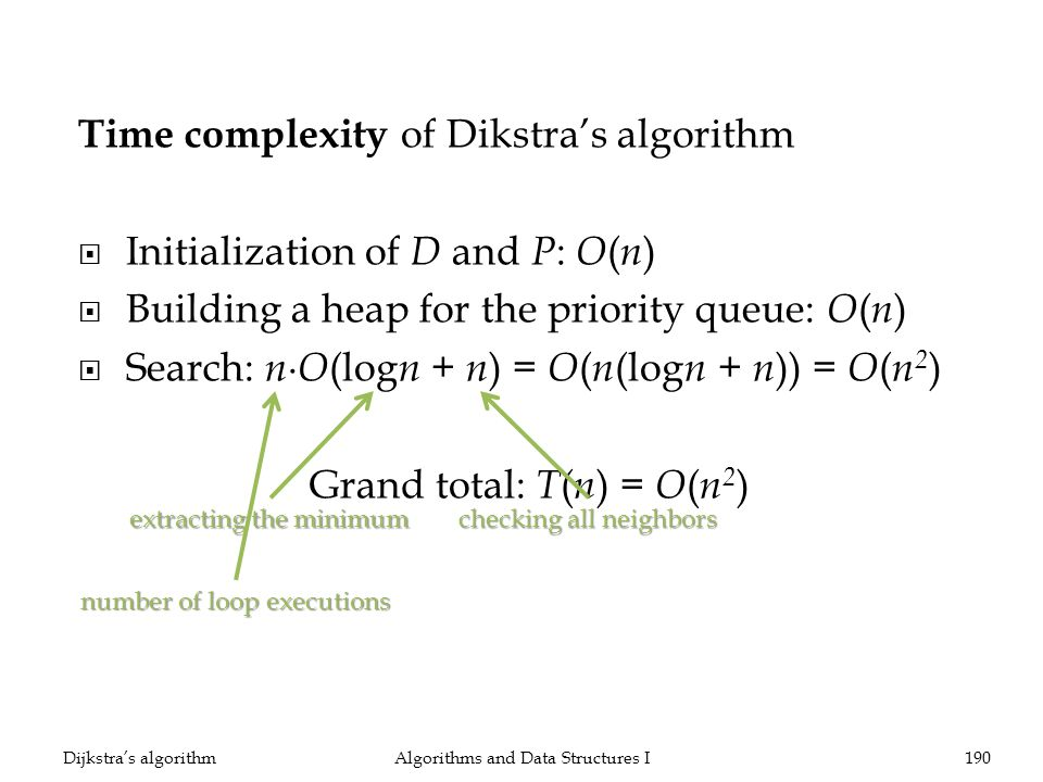 Time complexity of Dikstras algorithm Initialization of D and P : O ( n ) Building a heap for the priority queue: O ( n ) Search: n O (log n + n ) = O