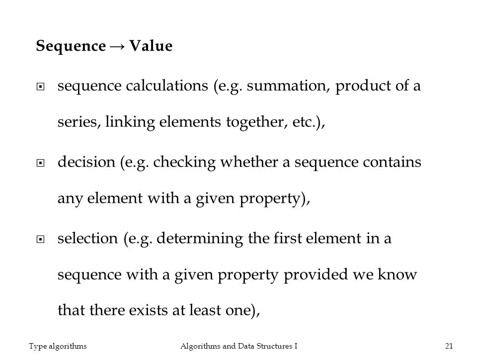Sequence Value sequence calculations (e.g.