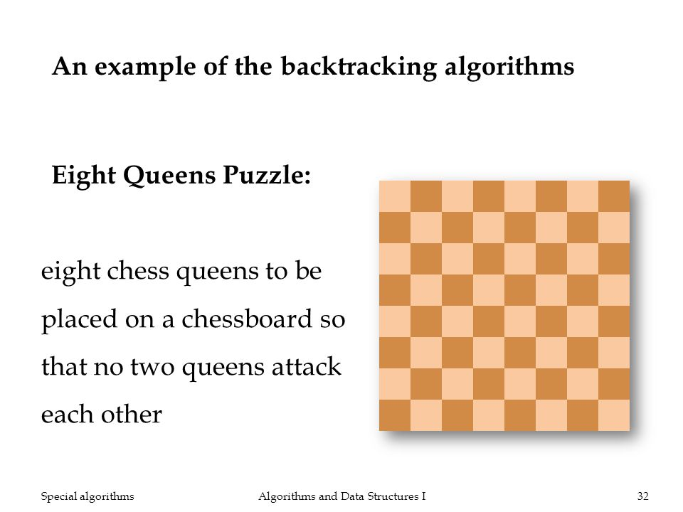 An example of the backtracking algorithms Eight Queens Puzzle: Algorithms and Data Structures I32Special algorithms eight chess queens to be placed on a chessboard so that no two queens attack each other