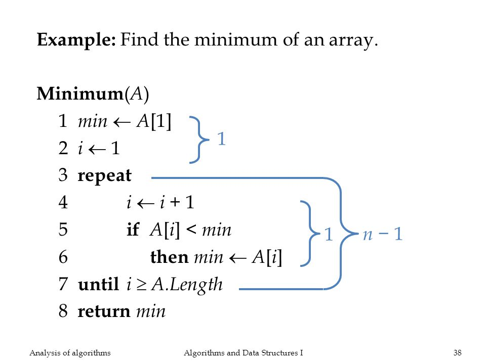Example: Find the minimum of an array.