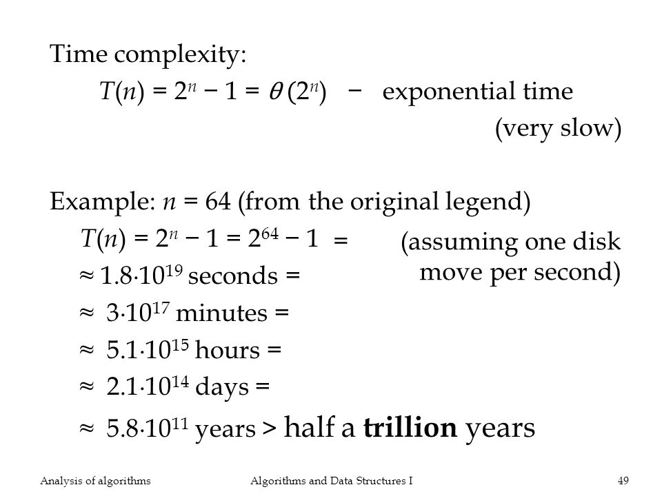 Time complexity: T ( n ) = 2 n 1 = θ ( 2 n ) exponential time (very slow) Example: n = 64 (from the original legend) T ( n ) = 2 n 1 = 2 64 1 1.810 19 seconds = 310 17 minutes = 5.110 15 hours = 2.110 14 days = 5.810 11 years > half a trillion years Algorithms and Data Structures I49Analysis of algorithms = (assuming one disk move per second)