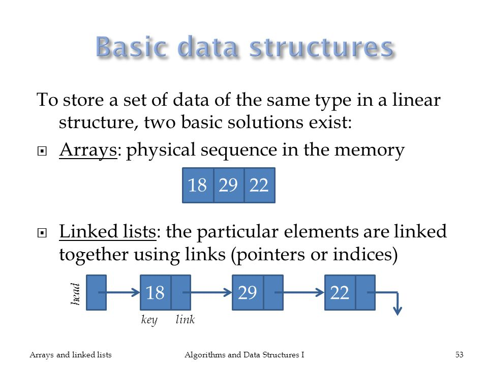 To store a set of data of the same type in a linear structure, two basic solutions exist: Arrays: physical sequence in the memory Linked lists: the pa