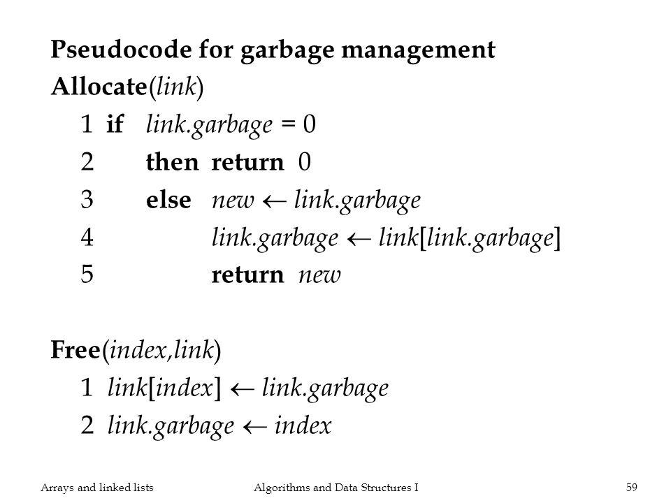 Pseudocode for garbage management Allocate ( link ) 1 if link.garbage = 0 2 thenreturn 0 3 else new link. garbage 4 link.garbage link [ link.garbage ]
