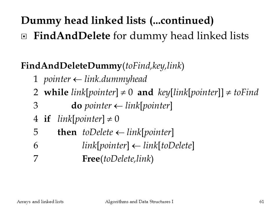 Dummy head linked lists (...continued) FindAndDelete for dummy head linked lists FindAndDeleteDummy ( toFind,key,link ) 1 pointer link.dummyhead 2 whi