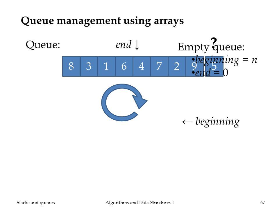 ? Queue management using arrays Algorithms and Data Structures I67 Queue: 138245679 end beginning Empty queue: beginning = n end = 0 Stacks and queues