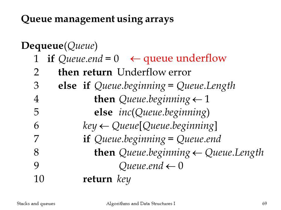 Queue management using arrays Dequeue ( Queue ) 1 if Queue. end = 0 2 thenreturn Underflow error 3 elseif Queue. beginning = Queue. Length 4 then Queu