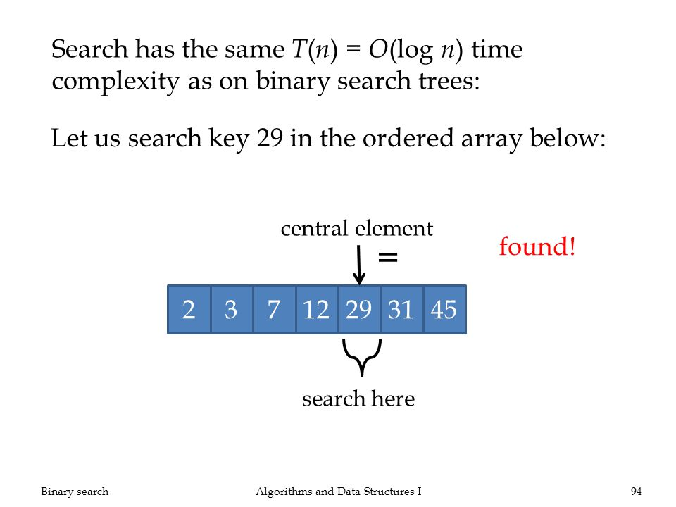 Let us search key 29 in the ordered array below: Binary searchAlgorithms and Data Structures I94 Search has the same T ( n ) = O (log n ) time complexity as on binary search trees: 23712293145 search here central element = found!