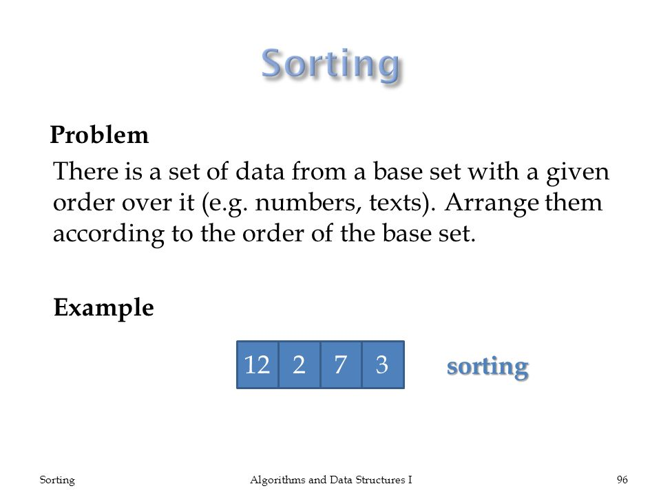 Problem There is a set of data from a base set with a given order over it (e.g.