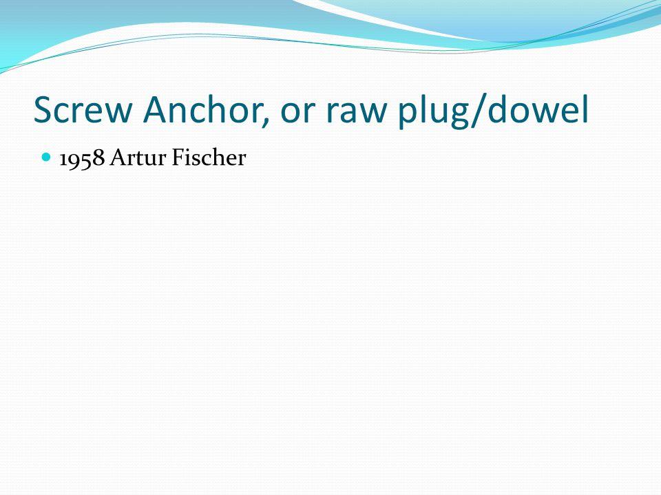 Screw Anchor, or raw plug/dowel 1958 Artur Fischer