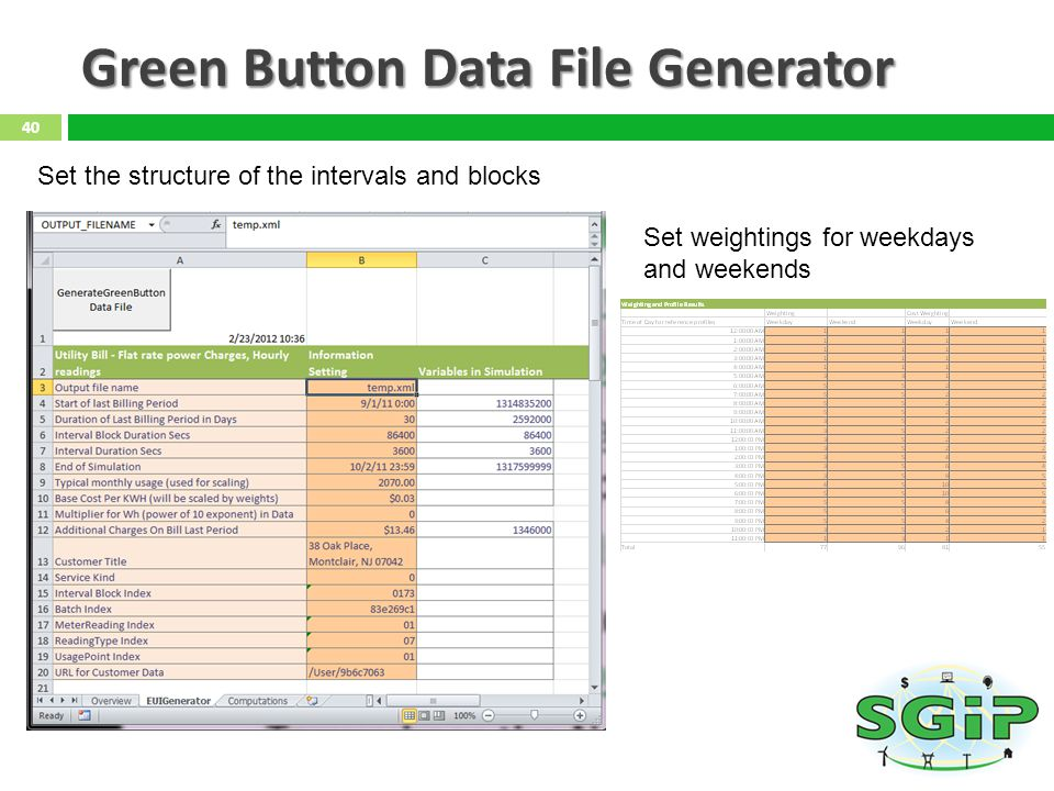 Green Button Data File Generator 40 Set the structure of the intervals and blocks Set weightings for weekdays and weekends