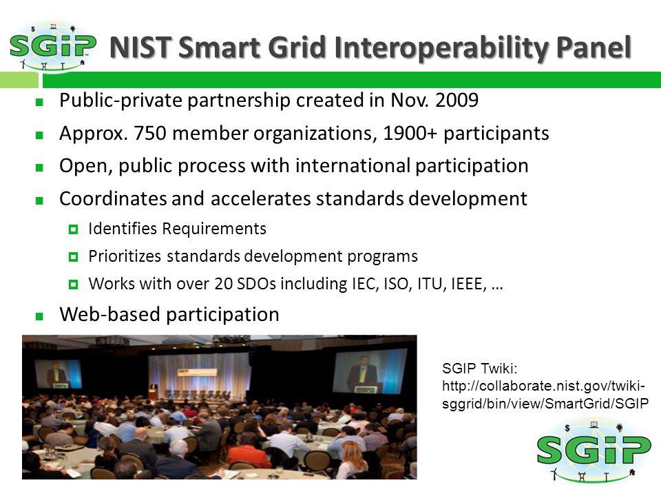 NIST Smart Grid Interoperability Panel Public-private partnership created in Nov.
