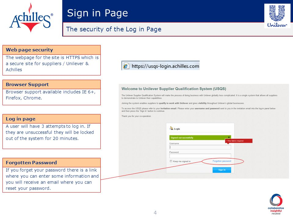 Sign in Page 4 The security of the Log in Page Log in page A user will have 3 attempts to log in. If they are unsuccessful they will be locked out of