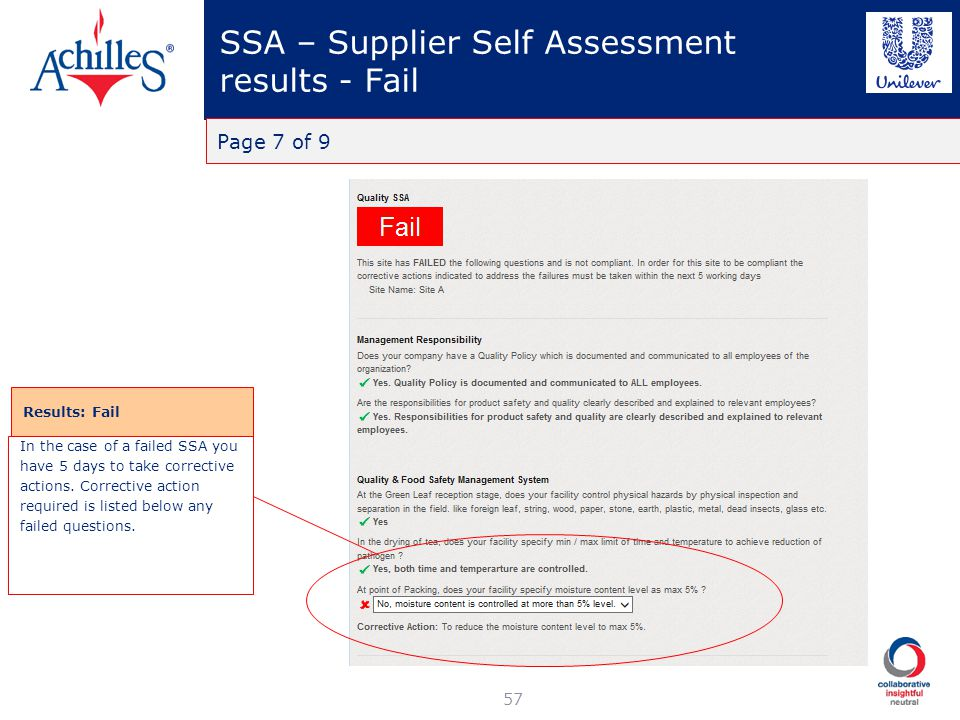 SSA – Supplier Self Assessment results - Fail 57 Page 7 of 9 Results: Fail In the case of a failed SSA you have 5 days to take corrective actions. Cor