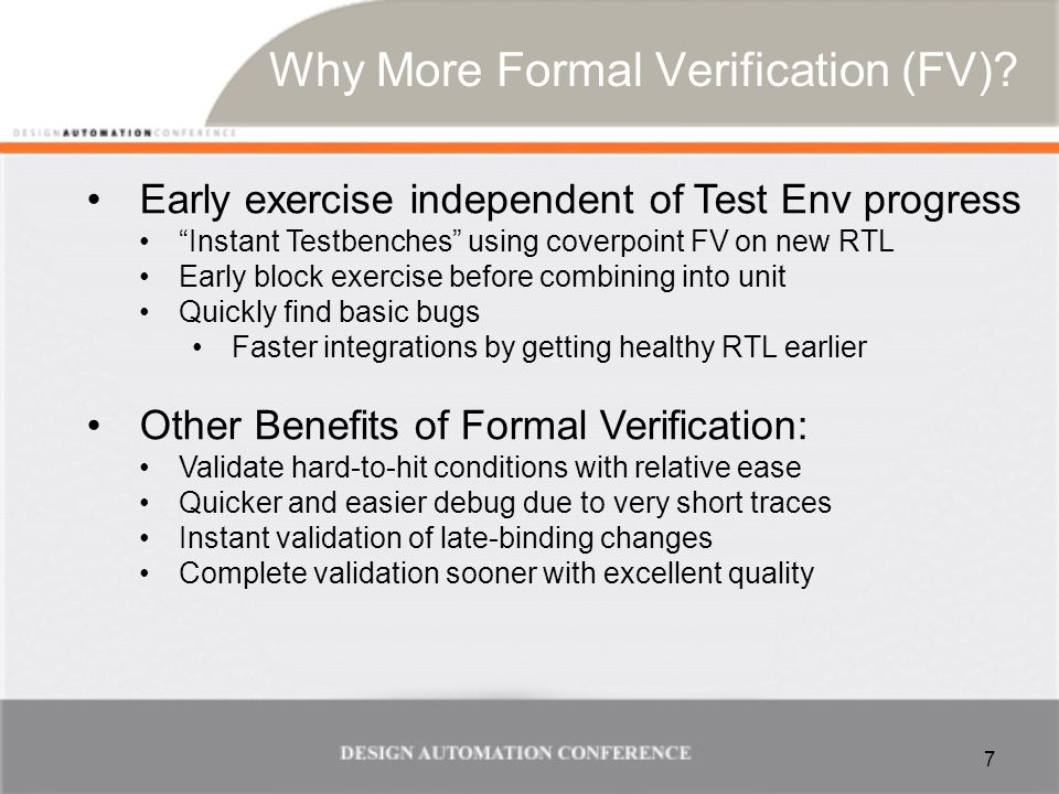 Why More Formal Verification (FV).