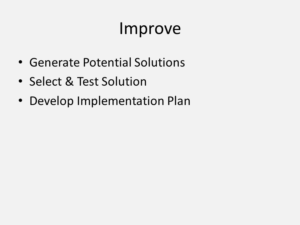 Improve Generate Potential Solutions Select & Test Solution Develop Implementation Plan
