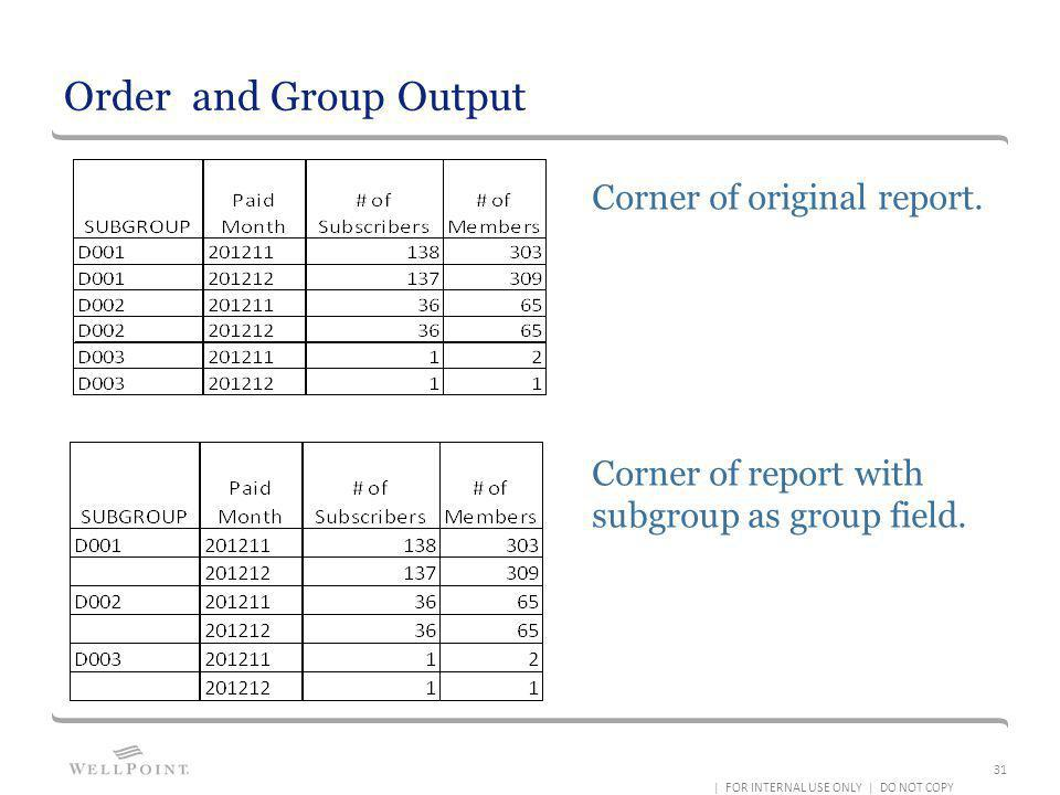 Order and Group Output Corner of original report. Corner of report with subgroup as group field. | FOR INTERNAL USE ONLY | DO NOT COPY 31