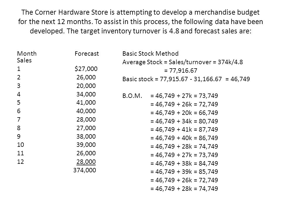 The Corner Hardware Store is attempting to develop a merchandise budget for the next 12 months. To assist in this process, the following data have bee