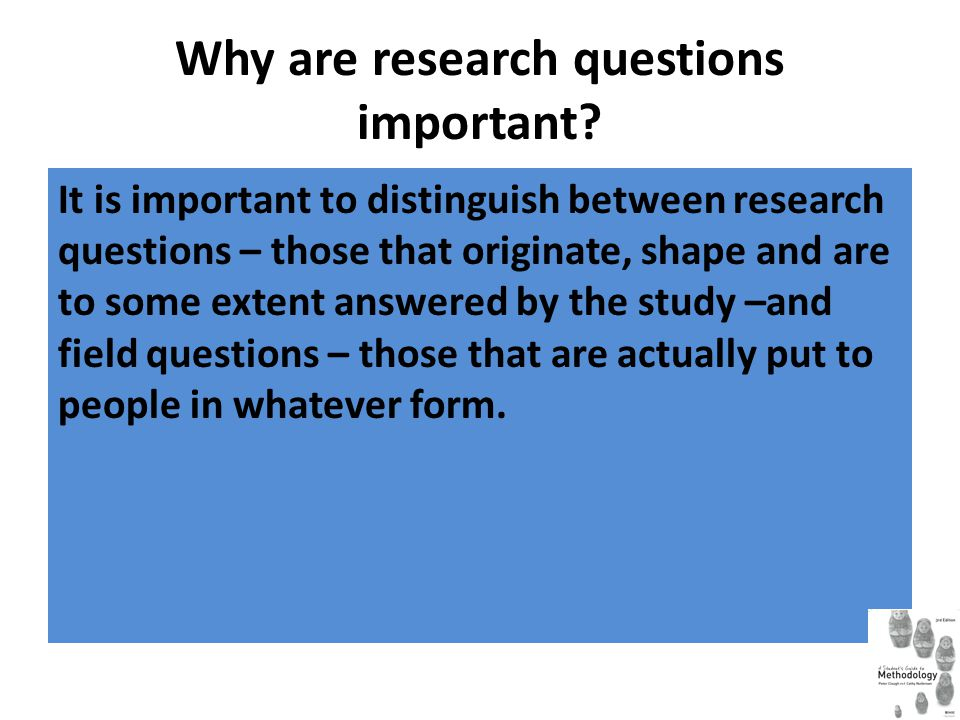 Why are research questions important? It is important to distinguish between research questions – those that originate, shape and are to some extent a