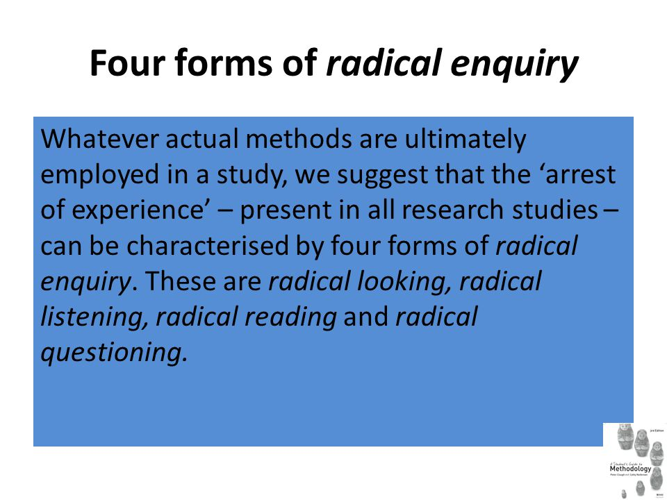 Radical looking Radical looking is the means by which research process makes the familiar strange, and gaps in knowledge are revealed