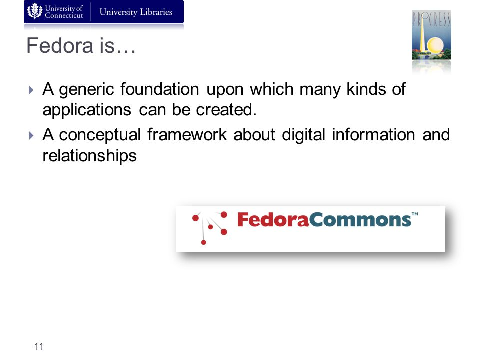 Fedora is… A generic foundation upon which many kinds of applications can be created.