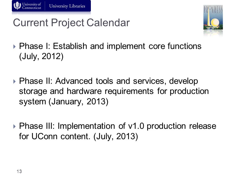 Current Project Calendar Phase I: Establish and implement core functions (July, 2012) Phase II: Advanced tools and services, develop storage and hardware requirements for production system (January, 2013) Phase III: Implementation of v1.0 production release for UConn content.