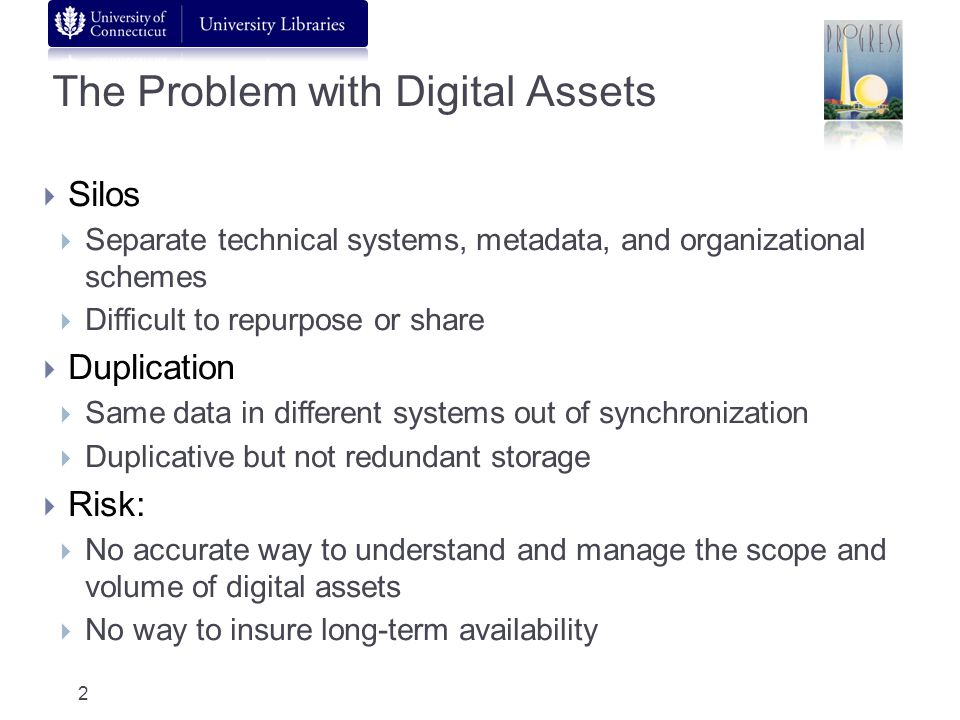 The Problem with Digital Assets Silos Separate technical systems, metadata, and organizational schemes Difficult to repurpose or share Duplication Sam
