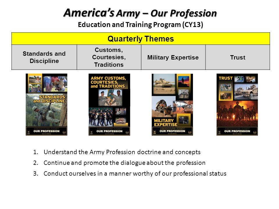 Americas Army – Our Profession Education and Training Program (CY13) Quarterly Themes Standards and Discipline Customs, Courtesies, Traditions Military ExpertiseTrust 1.Understand the Army Profession doctrine and concepts 2.Continue and promote the dialogue about the profession 3.Conduct ourselves in a manner worthy of our professional status