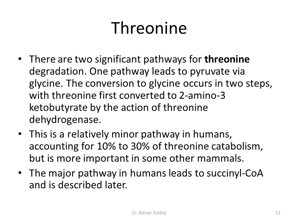 Threonine There are two significant pathways for threonine degradation. One pathway leads to pyruvate via glycine. The conversion to glycine occurs in