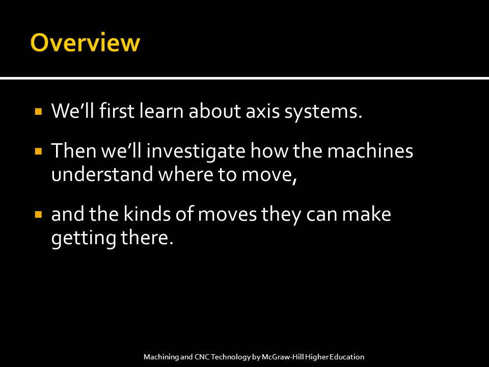 Well first learn about axis systems. Then well investigate how the machines understand where to move, and the kinds of moves they can make getting the