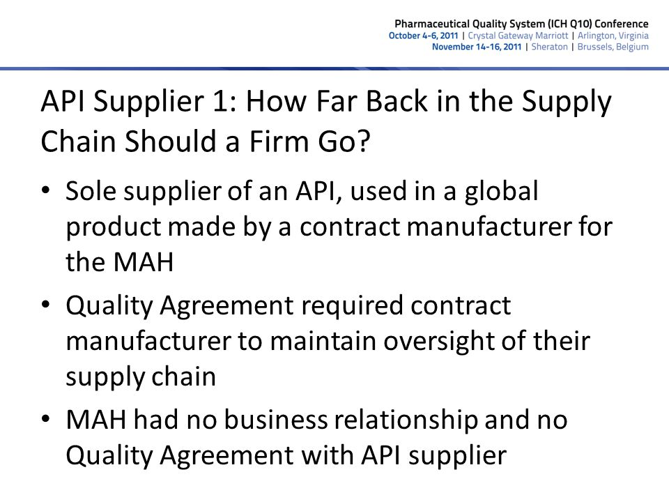 API Supplier 1: How Far Back in the Supply Chain Should a Firm Go? Sole supplier of an API, used in a global product made by a contract manufacturer f