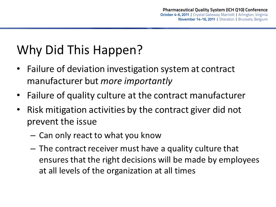 Why Did This Happen? Failure of deviation investigation system at contract manufacturer but more importantly Failure of quality culture at the contrac