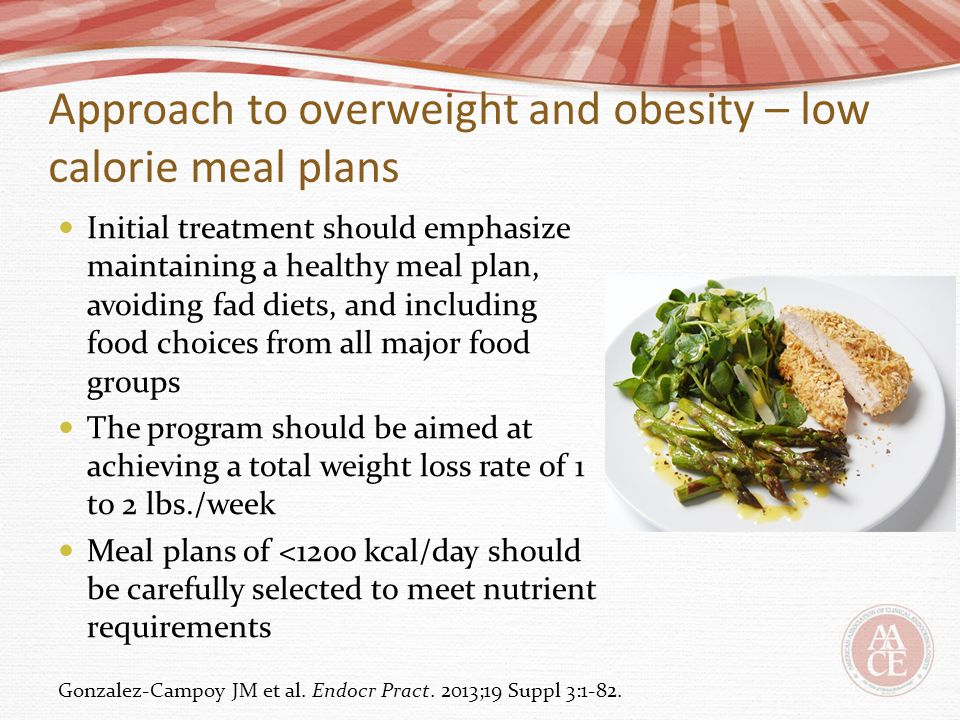 Approach to overweight and obesity – low calorie meal plans Initial treatment should emphasize maintaining a healthy meal plan, avoiding fad diets, an