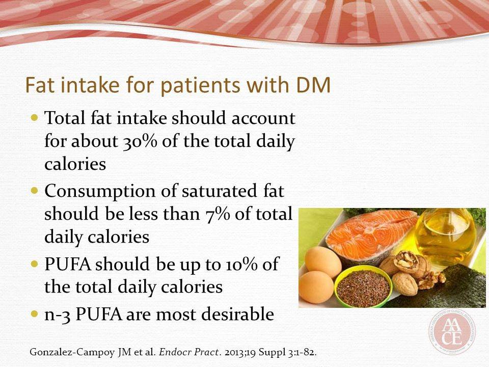 Fat intake for patients with DM Total fat intake should account for about 30% of the total daily calories Consumption of saturated fat should be less