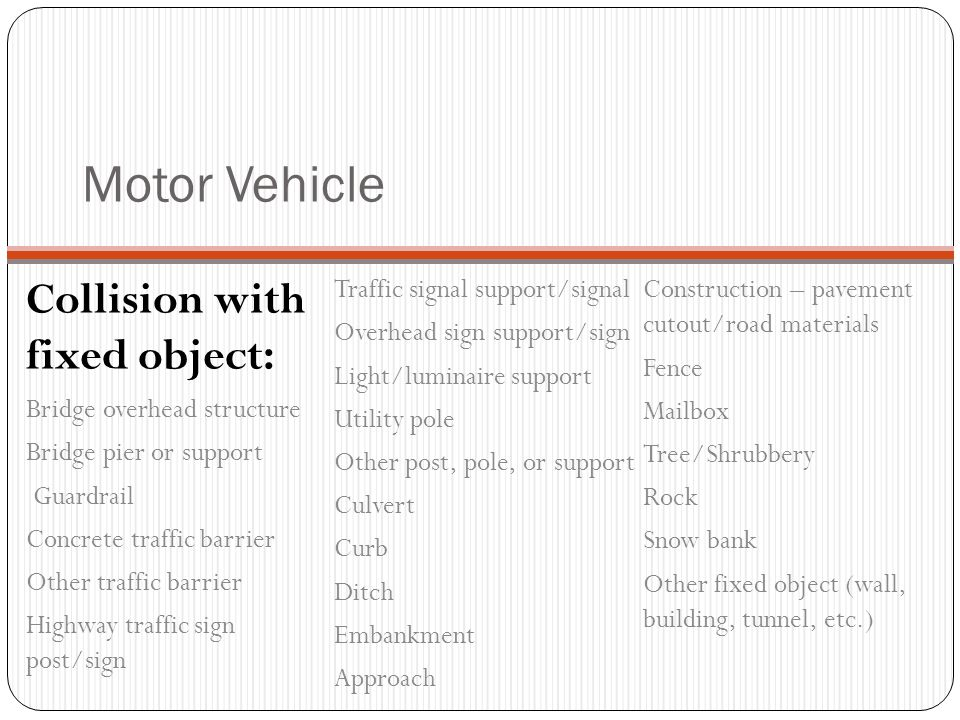 Motor Vehicle Collision with person, vehicle, or object not fixed: Pedestrian Pedal cycle Railway vehicle Animal – wild Animal – domestic Motor vehicl