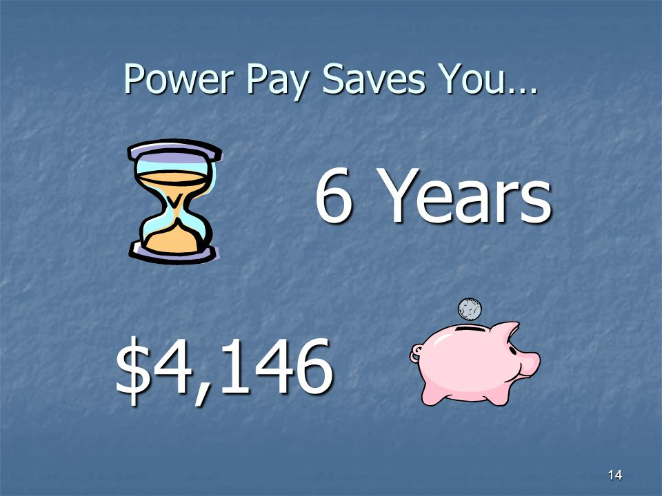 14 Power Pay Saves You… 6 Years $4,146