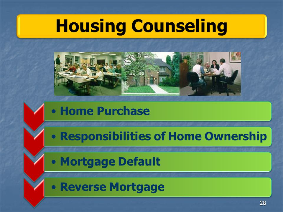 Home PurchaseResponsibilities of Home OwnershipMortgage DefaultReverse Mortgage Housing Counseling 28