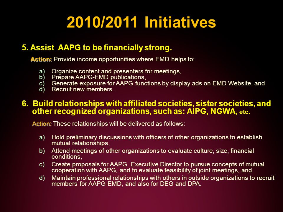 2010/2011 Initiatives Action: 5.Assist AAPG to be financially strong.
