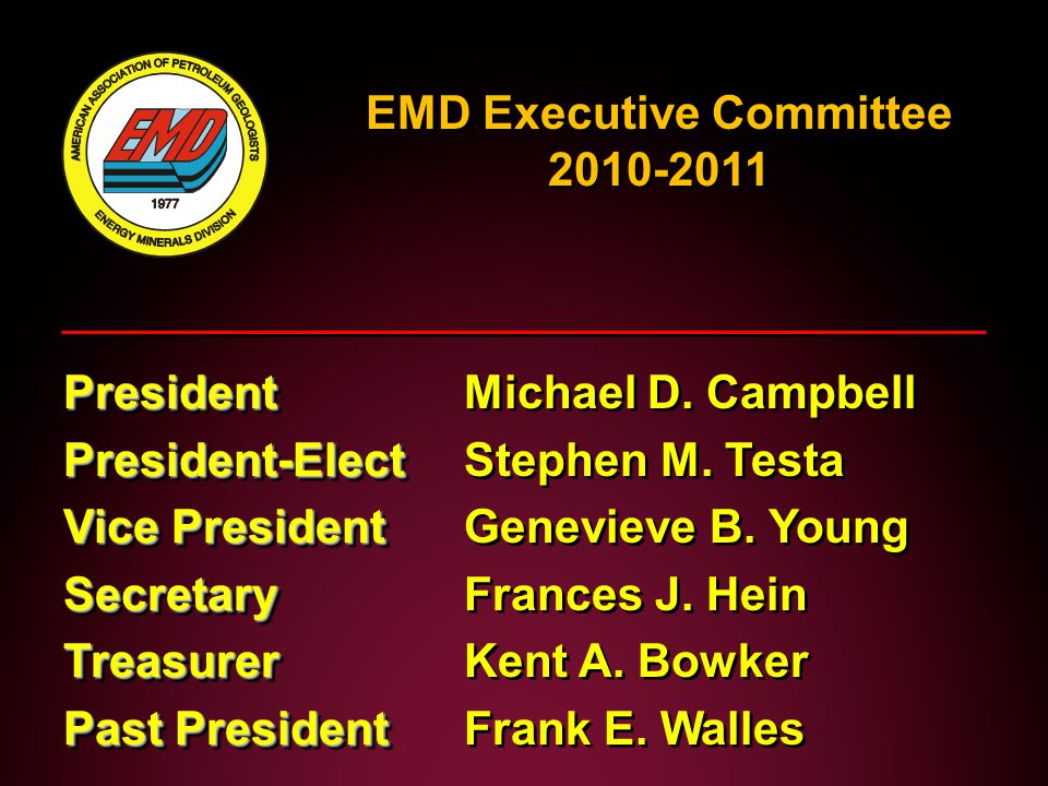 EMD Executive Committee 2010-2011 President PresidentMichael D.
