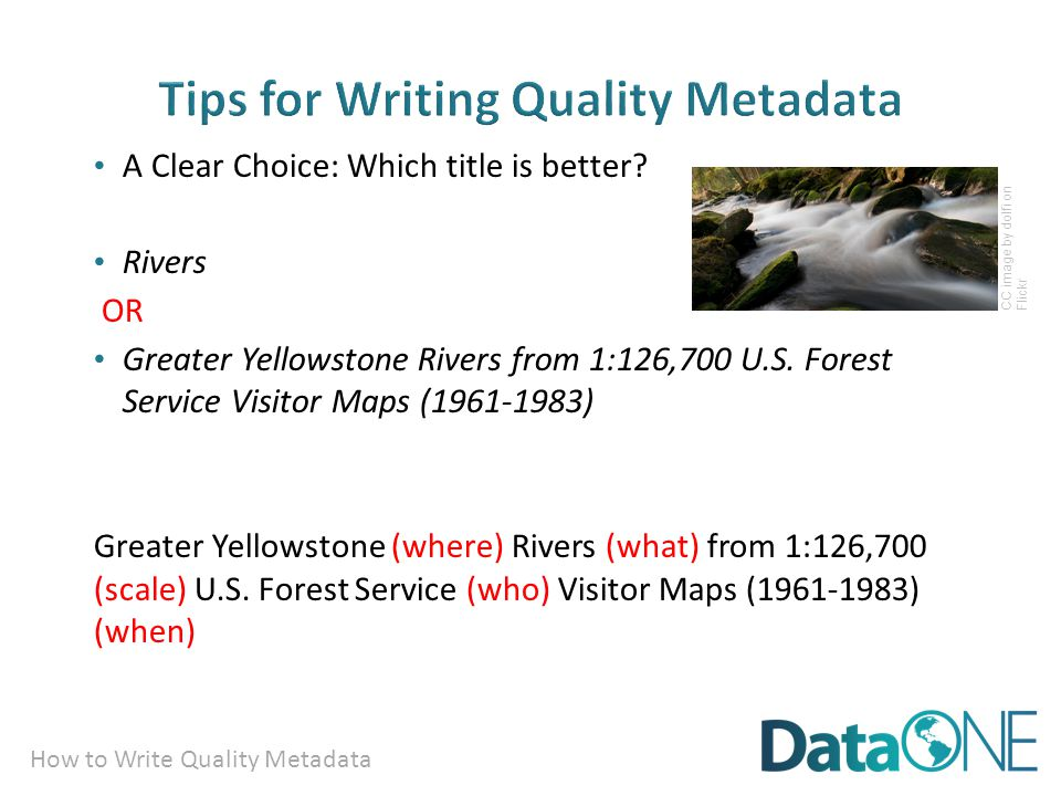 How to Write Quality Metadata A Clear Choice: Which title is better.