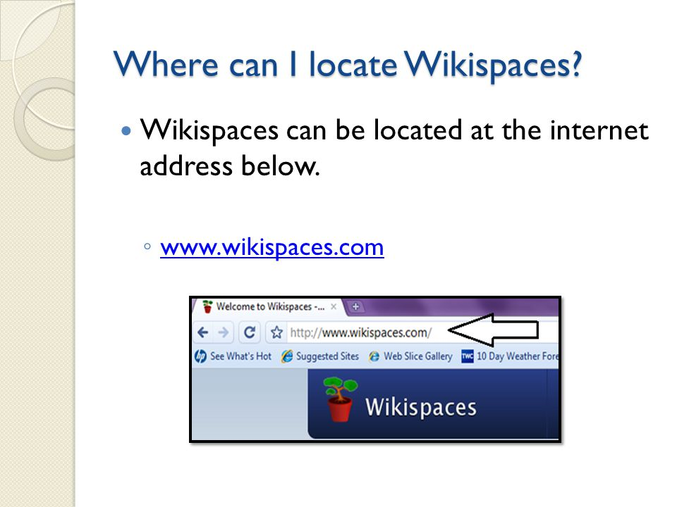 What is a Wikispace. Wikispaces are groups of web pages that can be edited by anyone.