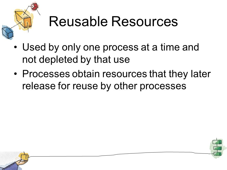 Reusable Resources Used by only one process at a time and not depleted by that use Processes obtain resources that they later release for reuse by other processes